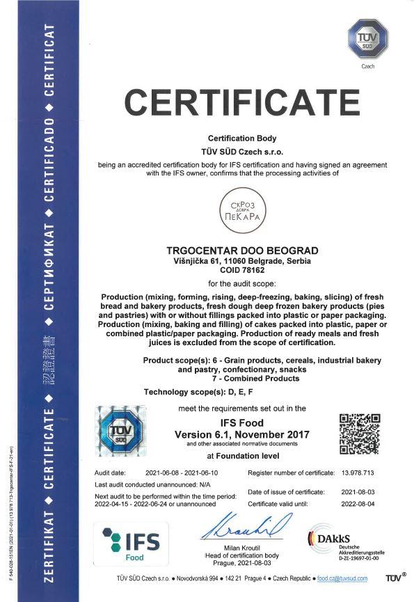СкРоЗ добра ПеКаРа IFS sertifikacija